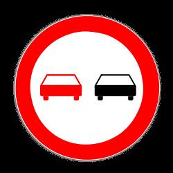 So sieht das Verkehrszeichen zum Überholverbot aus.
